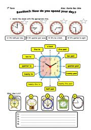 English Worksheets: how do you spend your day
