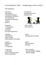 English Worksheet: Paraphrasing for ECPE exam
