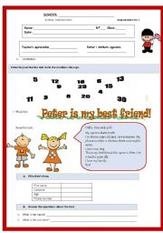 English Worksheet: Test- 5th grade - Peter is my best friend