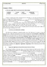 English Worksheets: Language and writing tasks for 4th year Tunisian students (with keys)