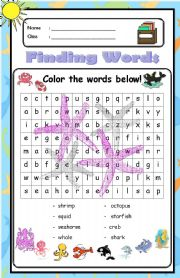 English Worksheet: Finding Words [under the sea]