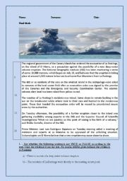 English Worksheet: El Hierro volcano