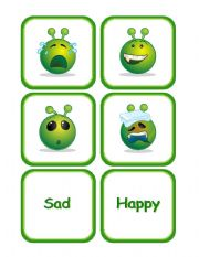 English Worksheet: Emotions with Green Alien Faces Memory Cards and More