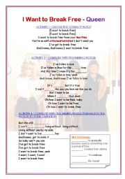 English Worksheets: SONG - I WANT TO BREAK FREE - QUEEN