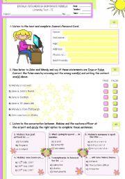English Worksheet: Personal identification  -  Listening Test