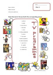 English Worksheets: types of TV programmes