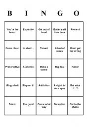 English Worksheet: Bingo with FALSE FRIENDS, IDIOMS ans other expressions;
