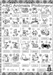 English worksheet: ANIMALS ABC PICTIONARY