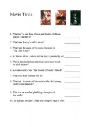 English Worksheets: Movie Trivia