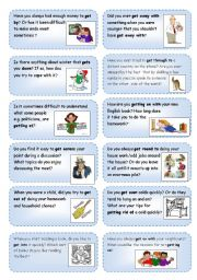 English Worksheet: Conversation cards (4) focusing on phrasal verbs with GET_1