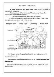 forest habitat esl worksheet by supiloca. Black Bedroom Furniture Sets. Home Design Ideas
