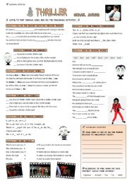 English Worksheet: THRILLER, Mickael Jackson