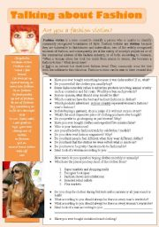 English Worksheet: TALKING ABOUT FASHION - 3 pages