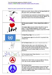 English Worksheets: PEACE SIGNS