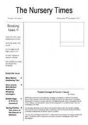 English Worksheets: The Nursery Times
