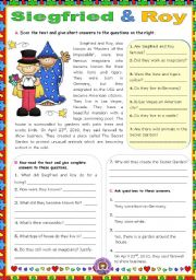 English Worksheets: Siegfried & Roy, Masters of the Impossible  -  Reading Comprehension