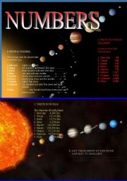 English Worksheets: Numbers and Solar System