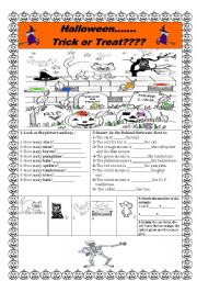 English worksheet: ####HALLOWEEN TRICK OR TREAT??####