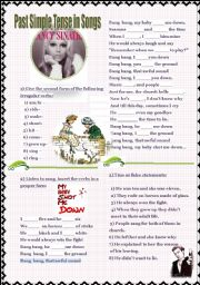 English Worksheet: Past Simple in Songs