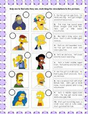 English Worksheet: Simpson�s descriptions