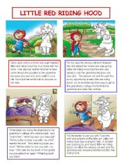 It is a photo of Zany Little Red Riding Hood Story Printable