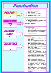 English Worksheet: punctuation marks &their uses