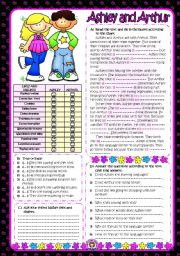 English Worksheets: Ashley and Arthur **LIKES and DISLIKES** (B&W+KEY included)