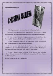 English Worksheets: Reading Comprehension - Christina Aguilera
