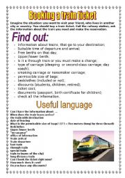 English Worksheet: booking a train ticket