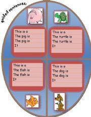 English Worksheets: Guided sentences