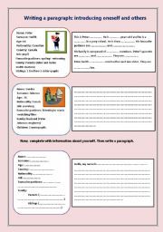English Worksheets: writing a paragraph