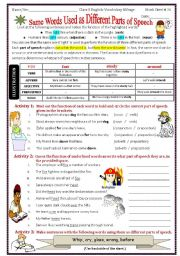 English worksheet: Same words used as different parts of speech
