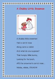 photograph regarding Chubby Little Snowman Poem Printable named English worksheets: A over weight very little snowman