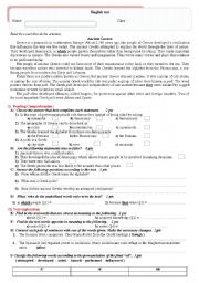 English Worksheet: test on Ancient Greek civilization