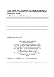 English Worksheets: introducing the word philanthropy