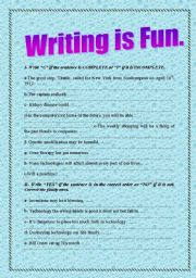 English Worksheets: writing is fun