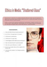 English Worksheet: Media and Ethics - Shattered Glass