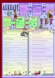 Already or yet in Present Perfect *** with key and B&W *** fully editable