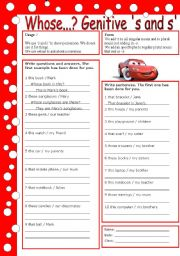 English Worksheets: possessive �s (with key)