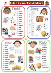 English Worksheet: Like or Dislike_Has or Doesn�t Have (Set 2)