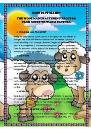 English Worksheets: How it is made? Wool process. Reading and comprehension questions