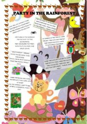 English Worksheet: Party in the rainforest. Animal poems for young learners