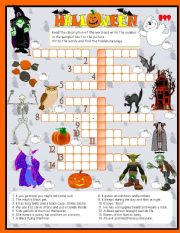 English Worksheet: Halloweeen crosswords