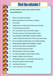 English Worksheets: Find the mistake 7