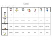 English Worksheet: Survivor game months, adverbs of frequency seasons and weather