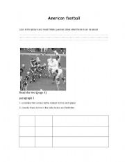 English Worksheet: American football worksheet
