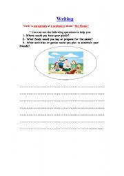 English worksheet: My Picnic & future simple