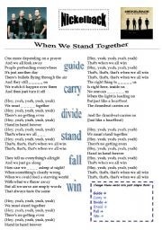 English Worksheets: Nickelback When We Stay Together - Song