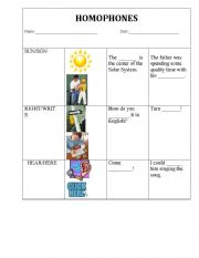 English Worksheets: Homophones_Choose the right/write word!