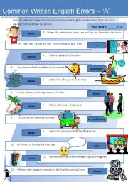 English Worksheet: Common Written English Errors - �A� (with detailed ans key)